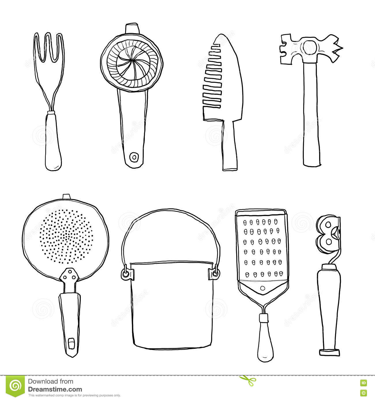 Vintage Kitchen Tools Hand Drawn Line Art Cute