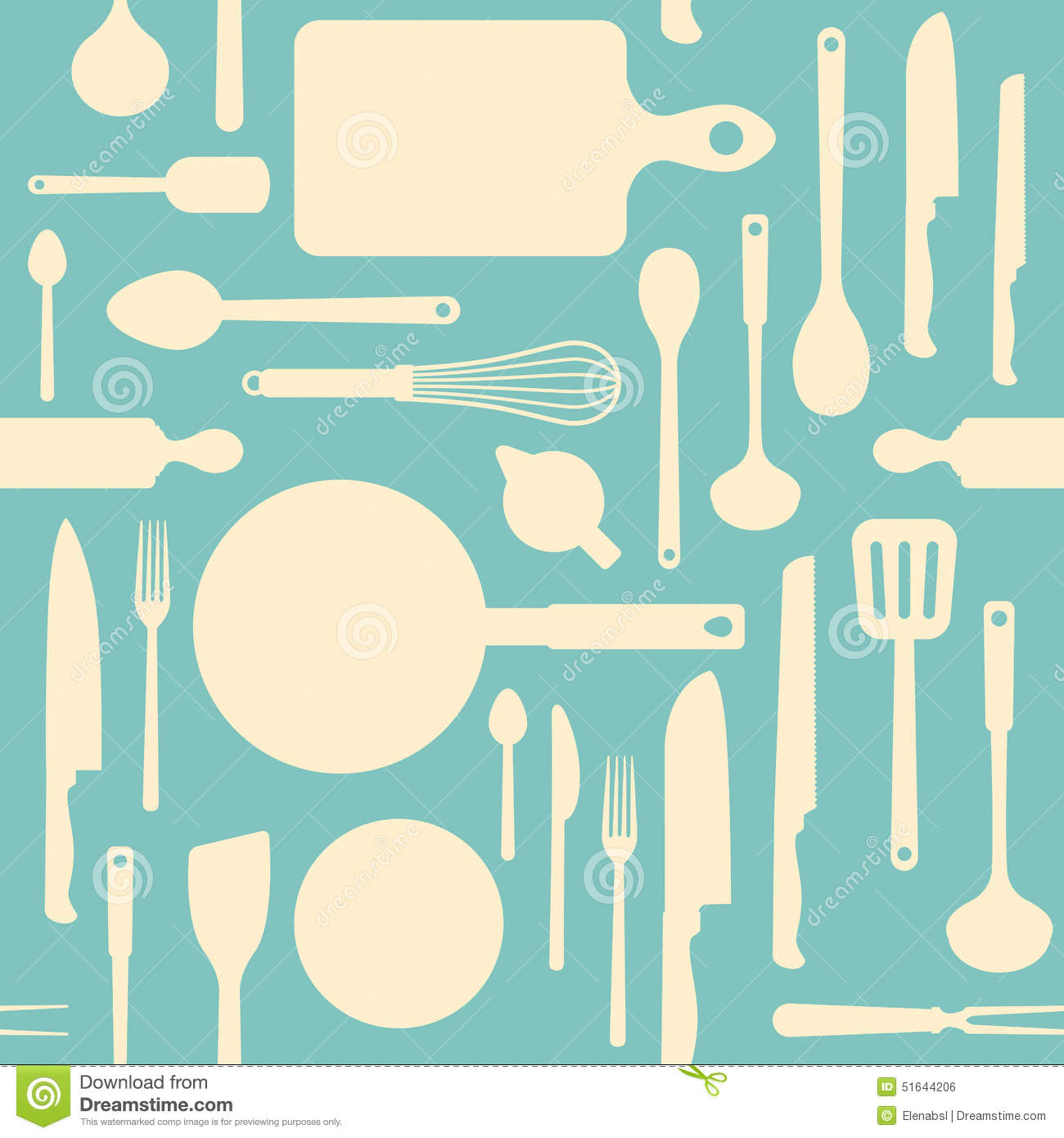 Vintage Kitchen Tools Pattern Stock Vector - Illustration of food ...