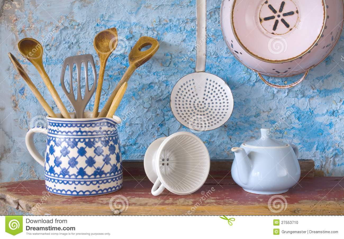 Vintage kitchen utensils stock photo. Image of enamel - 27553710