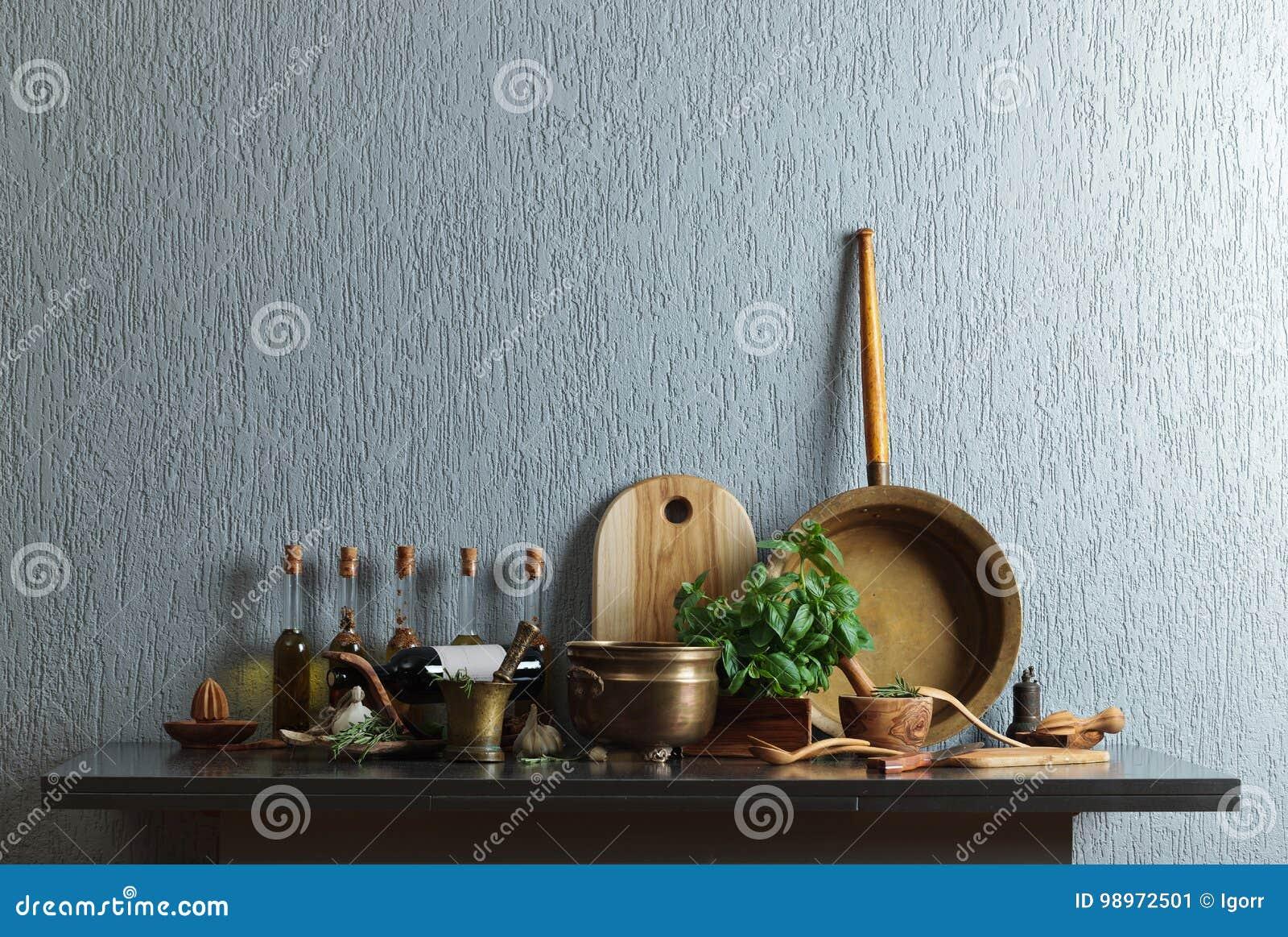 Vintage Kitchen Utensils With Bottles Of Olive Oil. Stock Image ...