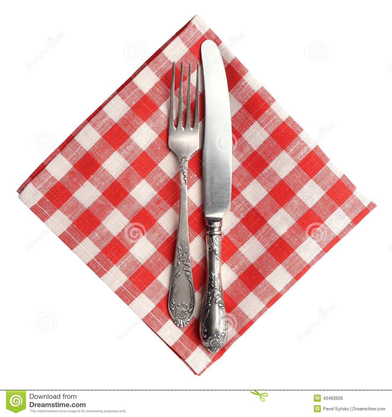 Vintage Knife And Fork On Red Plaid Linen Napkin Isolated