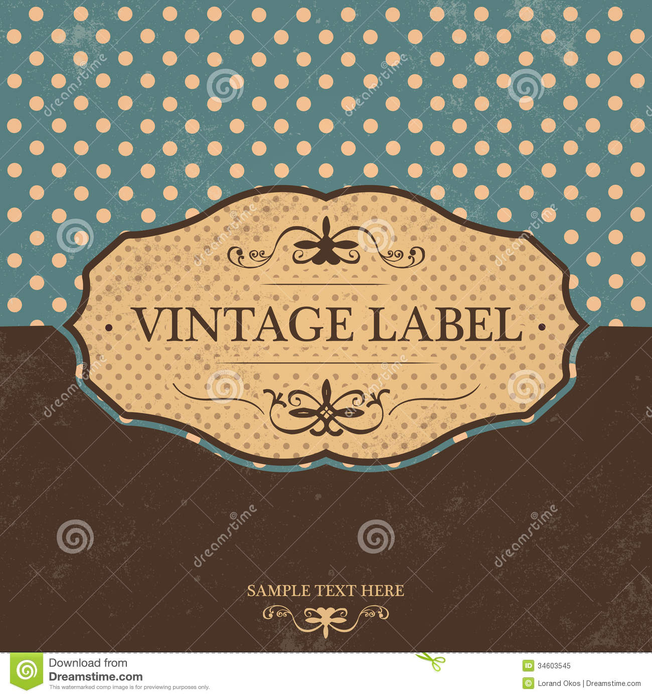 vintage label design with retro background royalty free