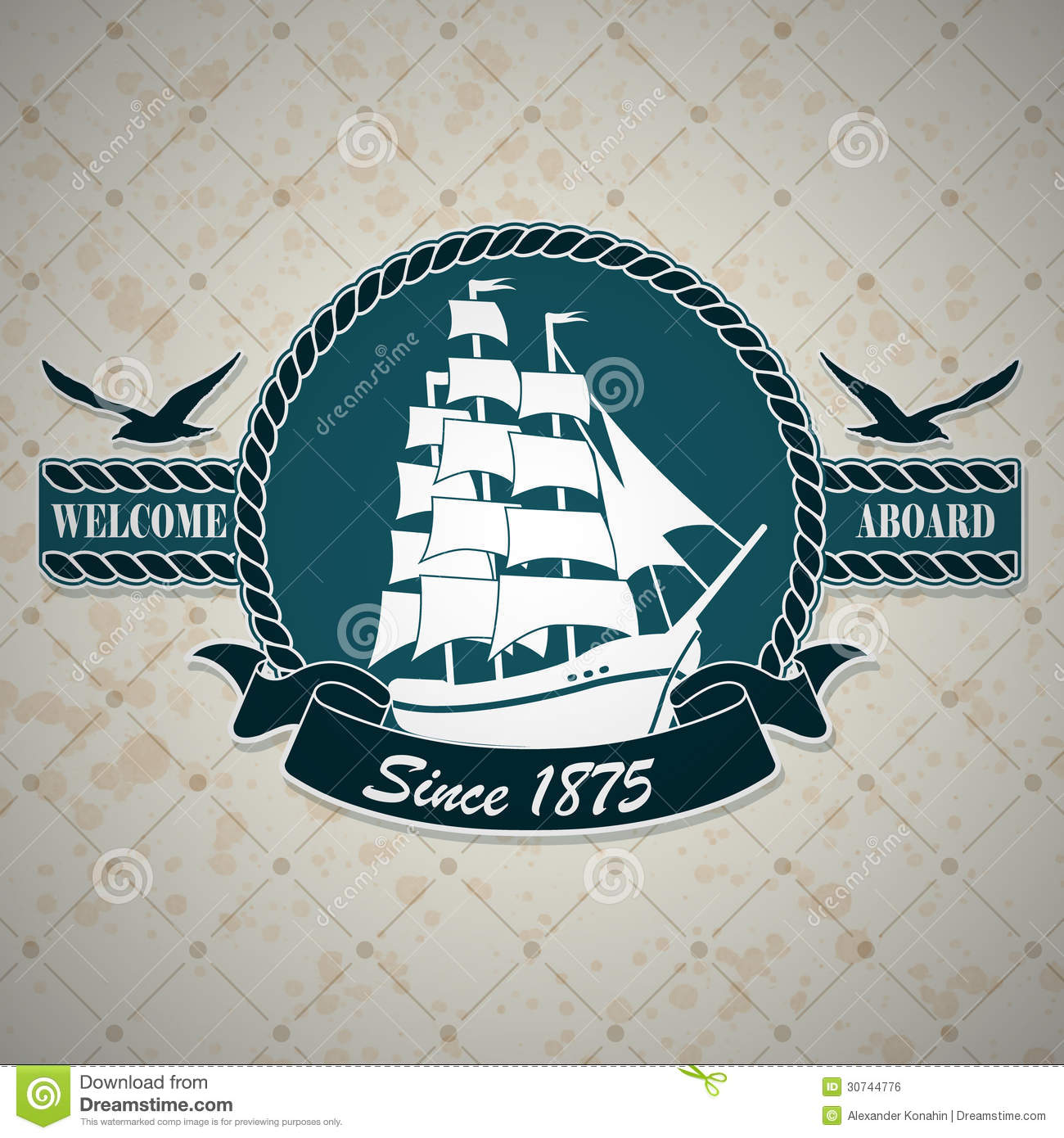 vintage label with a nautical theme royalty free stock