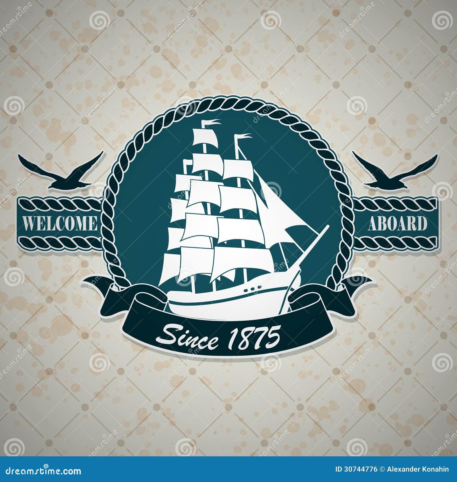 Design Nautical Theme vintage label with a nautical theme royalty free stock image photo