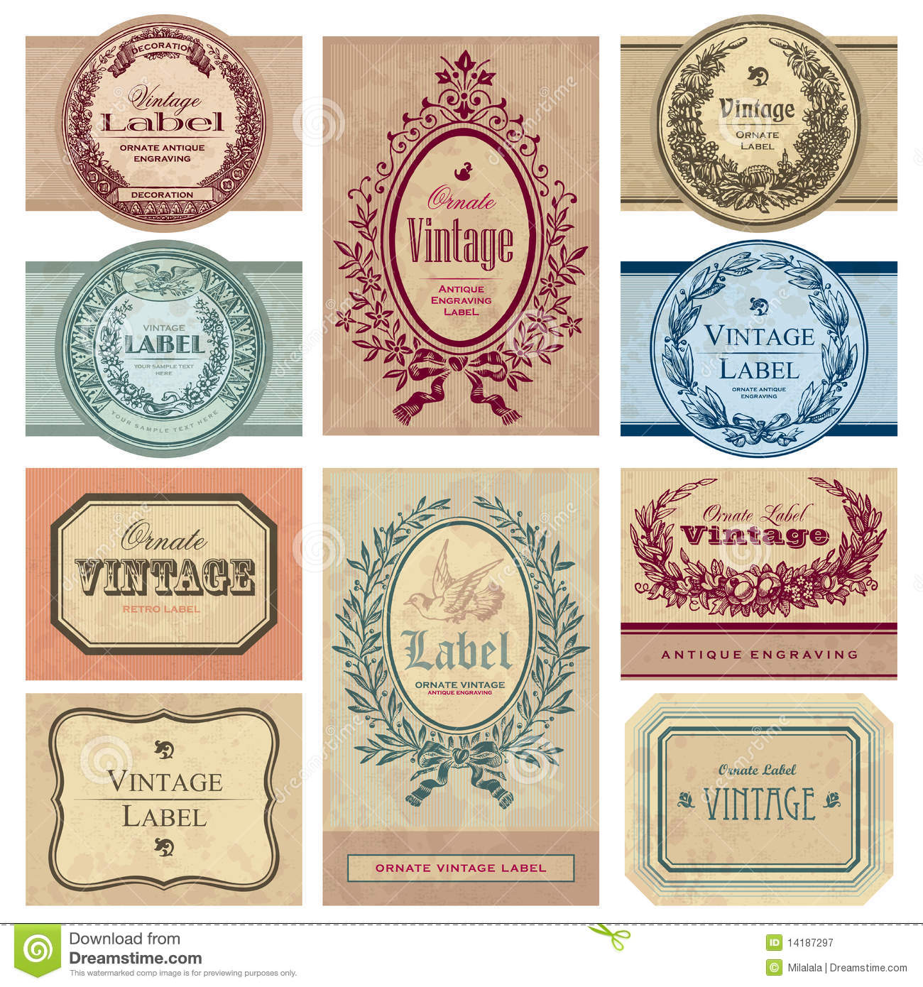 Editable Vintage Labels – Printable Editable Blank