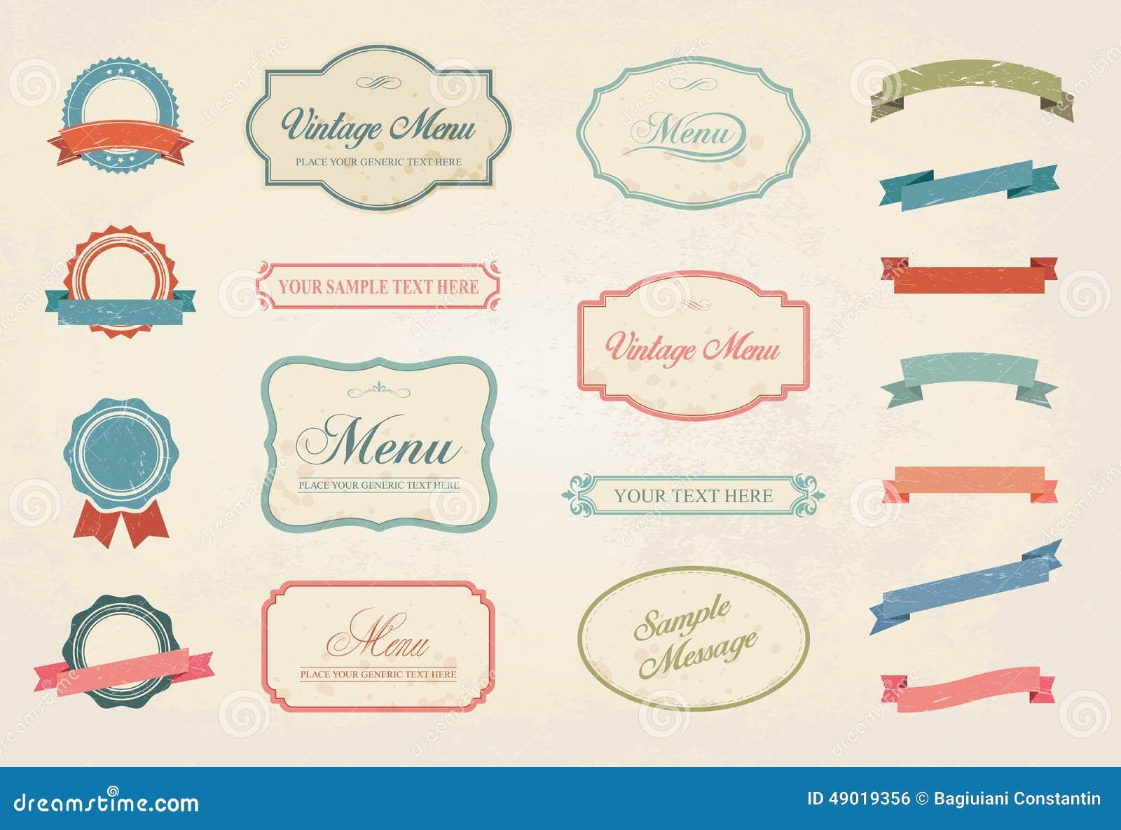 Vintage Labels Vector Design Elements Collection Set