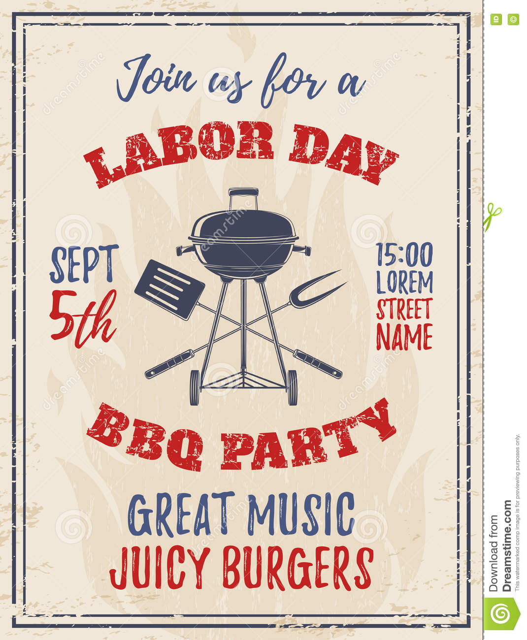 Vintage Labor Day BBQ Party Background. Stock Vector