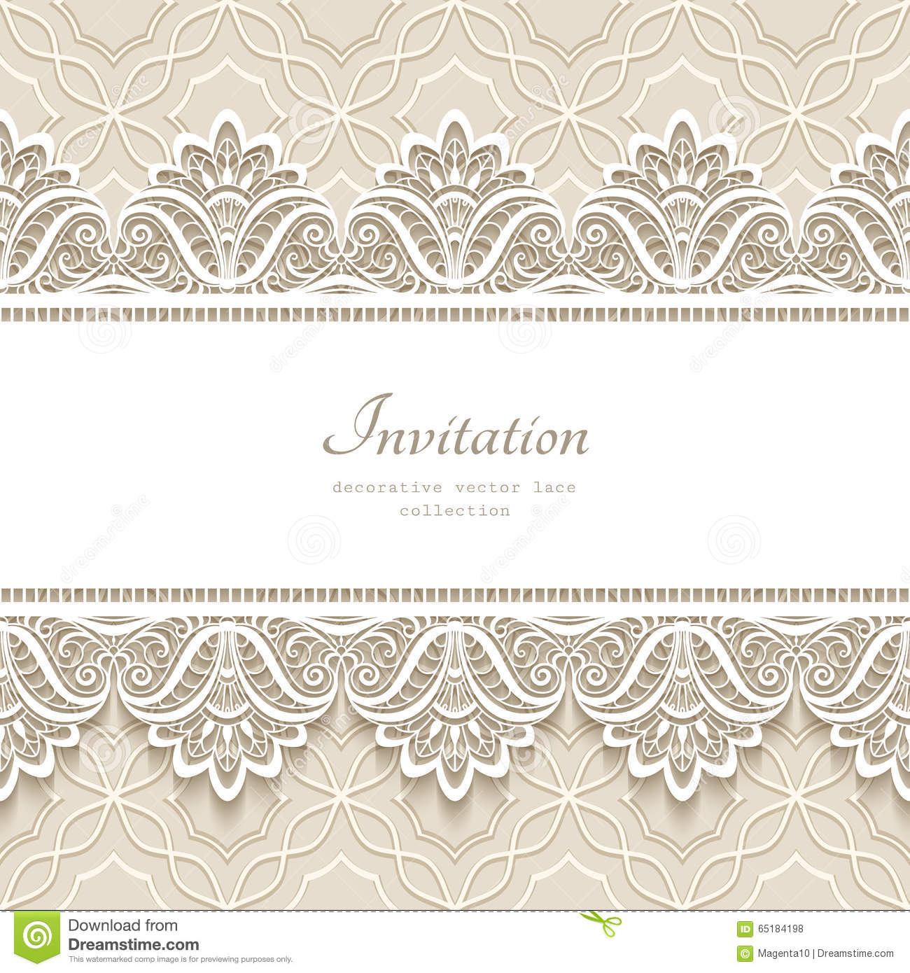 Vintage Lace Background With Seamless Borders Stock Vector