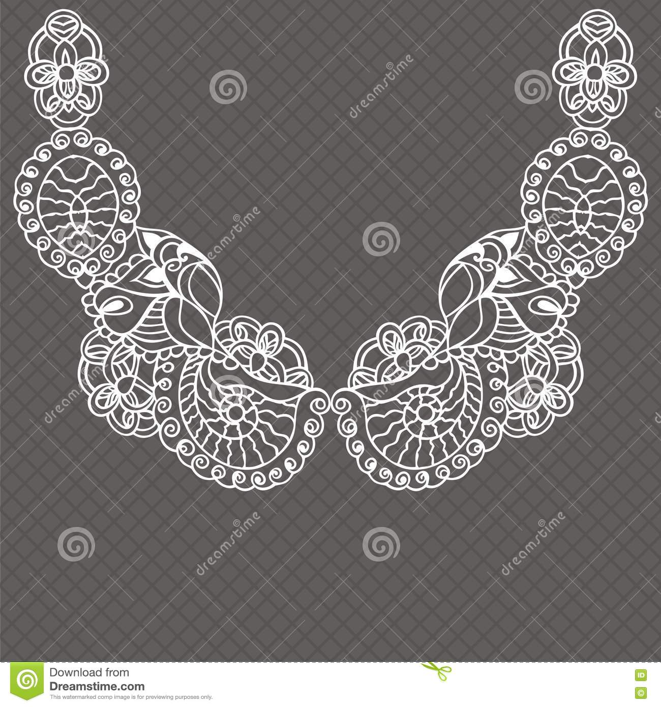 Vintage Lace Detachable Collar-necklace Embroidery. Stock Vector ...