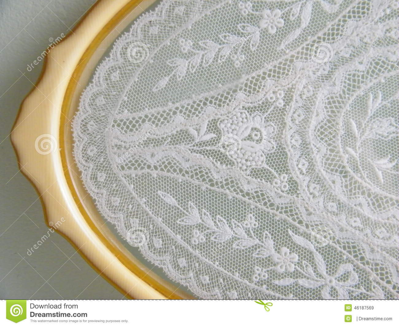 Antique vanity tray with lace insert - Vintage Lace Tray Stock Photo