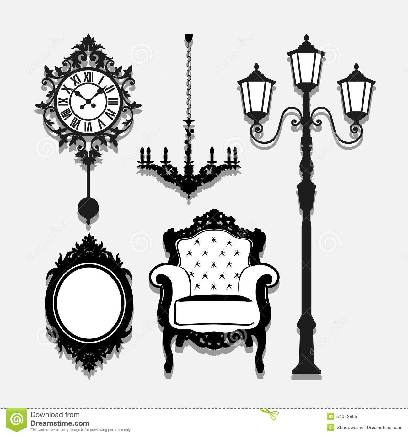 Vintage Lamp Icons Set Great For Any Use Vector Eps10