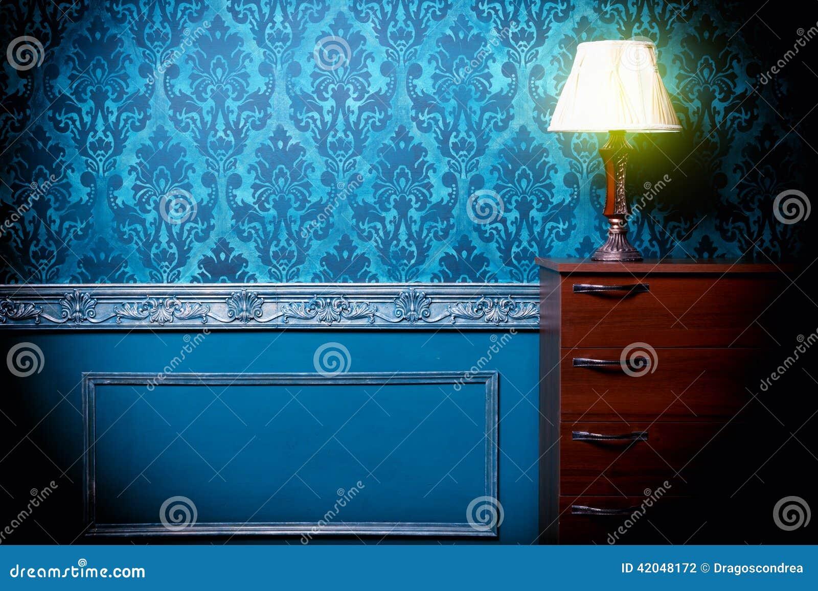 Vintage lamp in retro blue toned interior