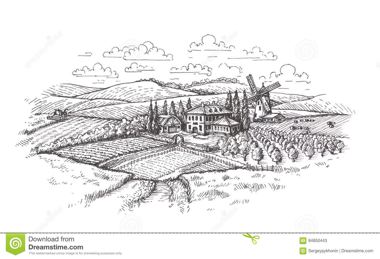 Ranch Style House further Stock Photo Vintage Landscape Farm Agriculture Wheat Field Sketch Isolated White Background Image84850443 also 28 Floorplan Online Inspiration Free Online Room Layout furthermore Floor Plan Danville Indiana furthermore Shotgun House. on farm ranch house plans