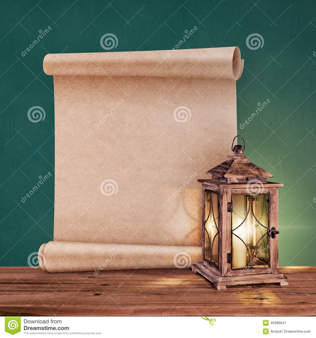 Antique Scrollimgs: Vintage Lantern With Antique Scroll On Green Background