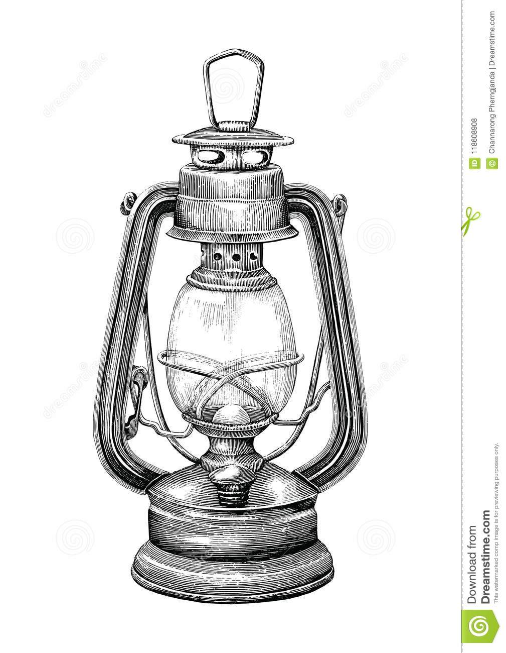 Vintage lantern hand drawing engraving style isolate on white ba