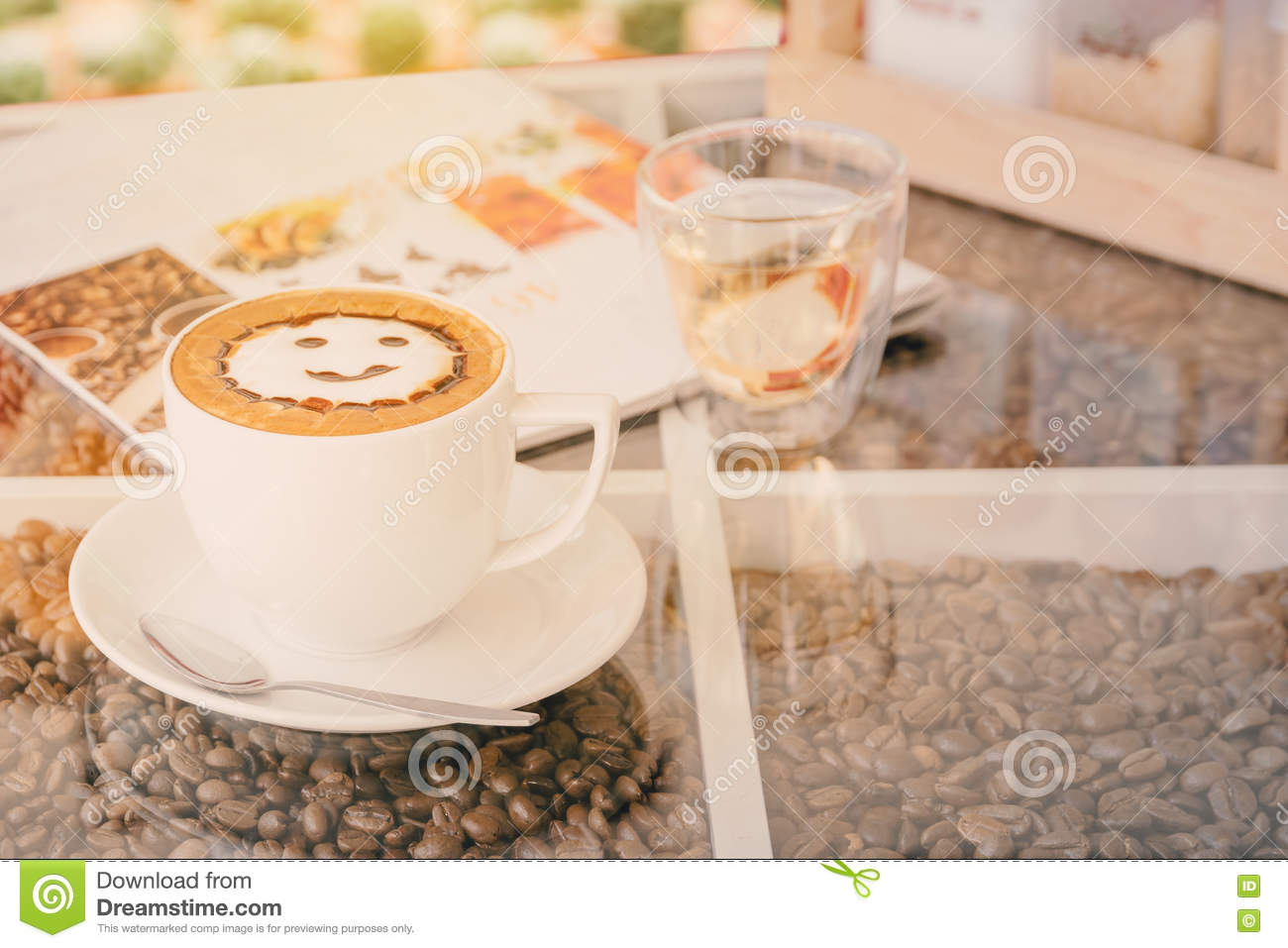 Vintage latte art coffee cup on table stock image image 72950167 vintage latte art coffee cup on table geotapseo Gallery