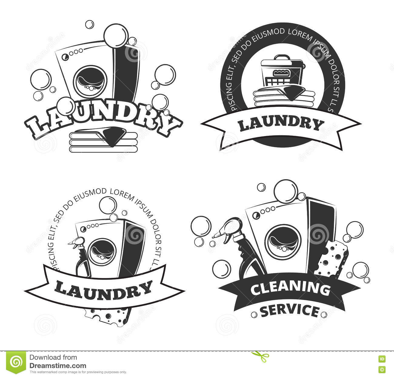 Vintage laundry service dry clean vector labels, emblems, logos, badges set