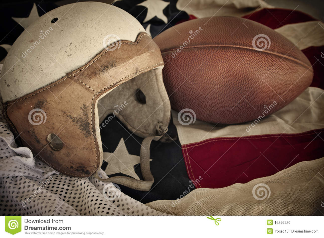 vintage leather football helmet background stock photo