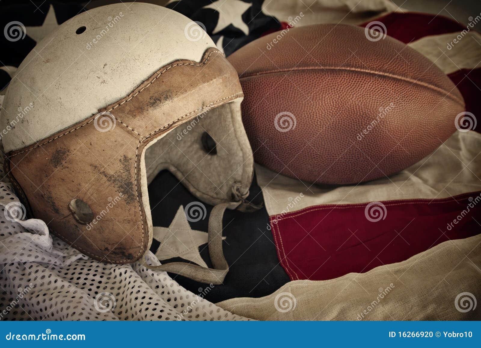 Vintage Leather Football Helmet Background Stock Photo ...