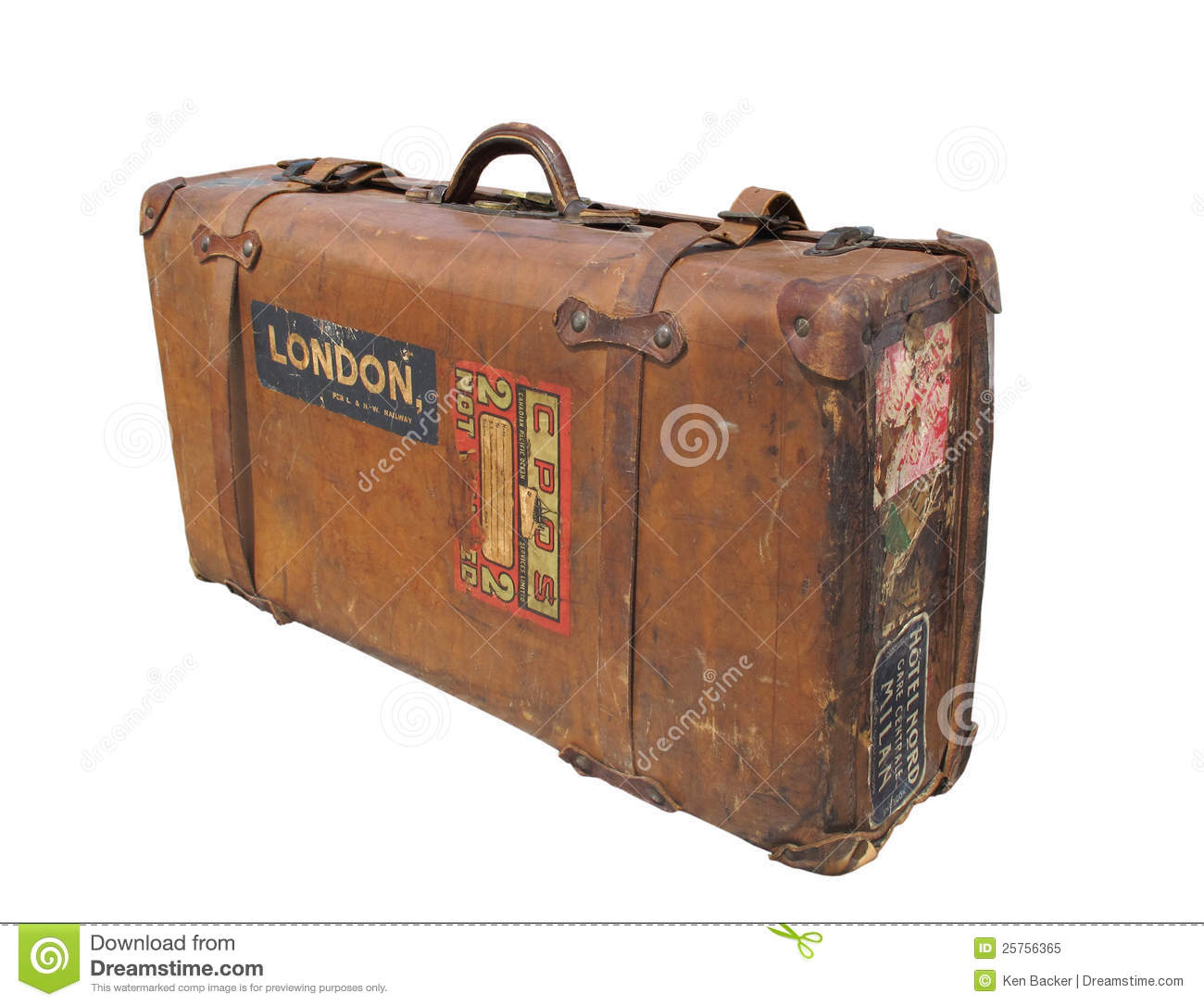 Vintage Leather Suitcase With Straps Isolated. Royalty Free Stock ...