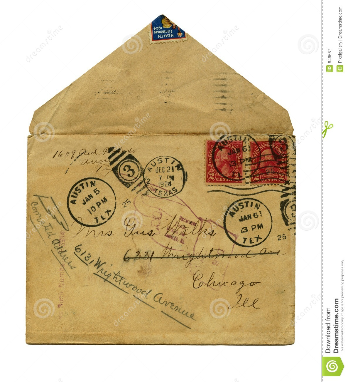 ... and return to sender stamp. Has old Christmas seal stamp at top