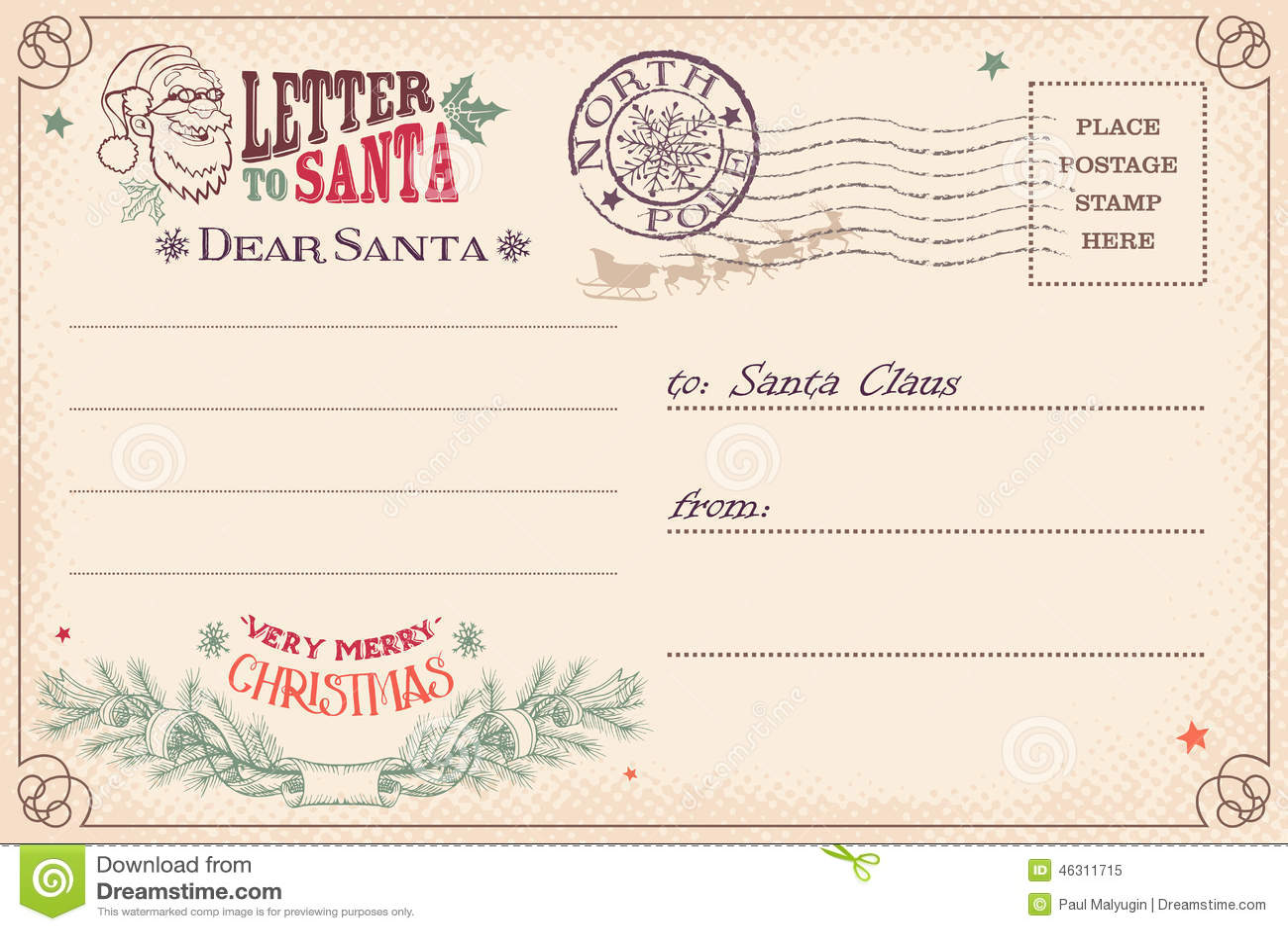 Vintage Letter To Santa Claus Postcard Stock Vector - Image: 46311715