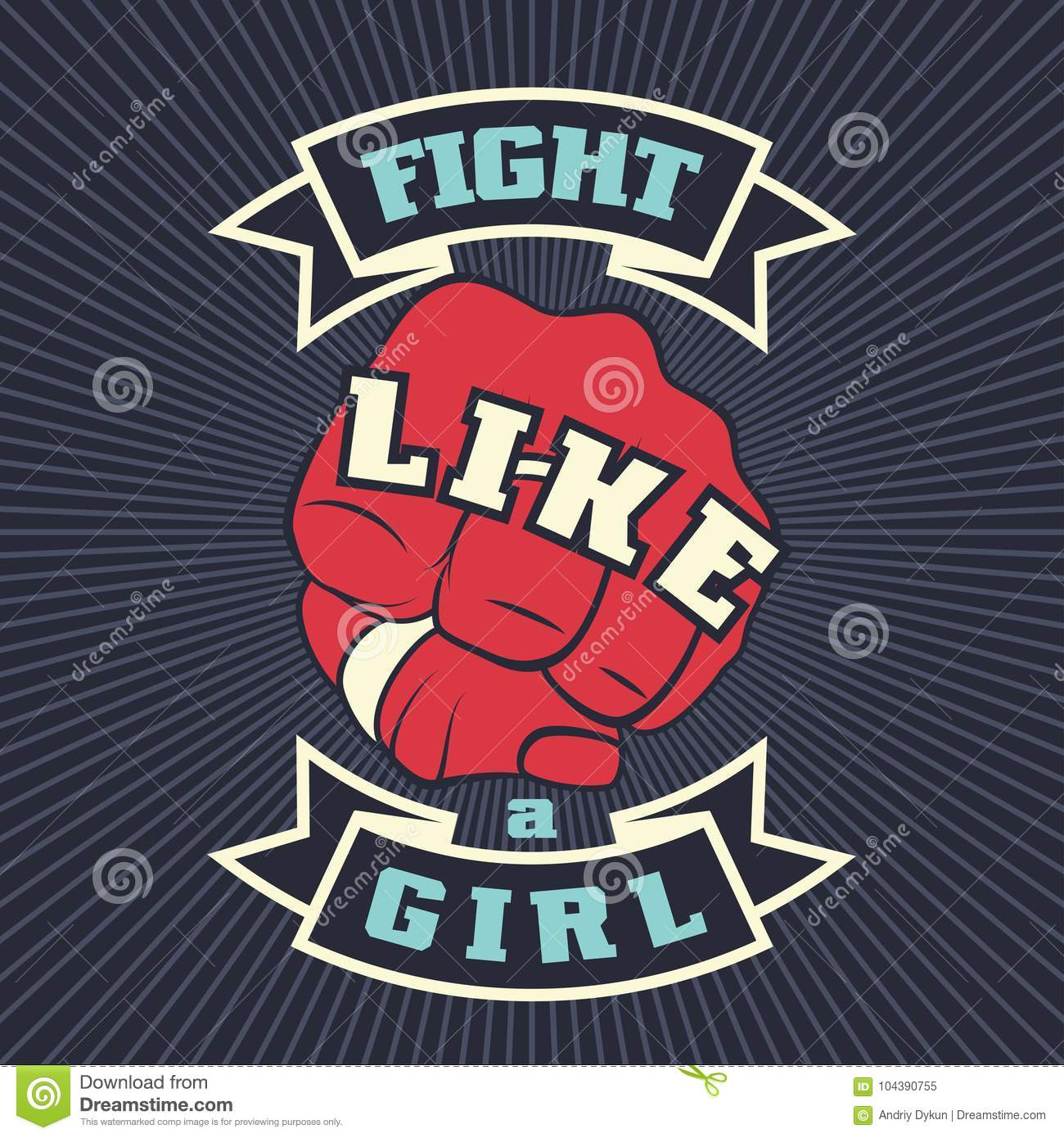 Vintage Lettering Quote Fight Like A Girl Stock Vector