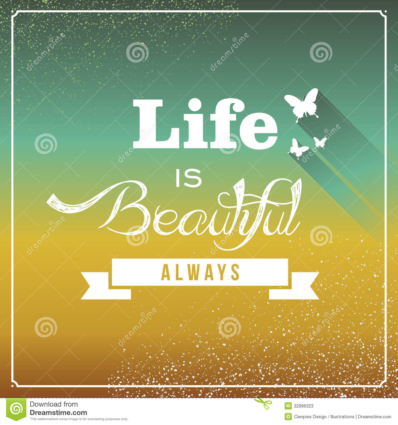 Vintage Life Is Beautiful Always Poster Stock Photos