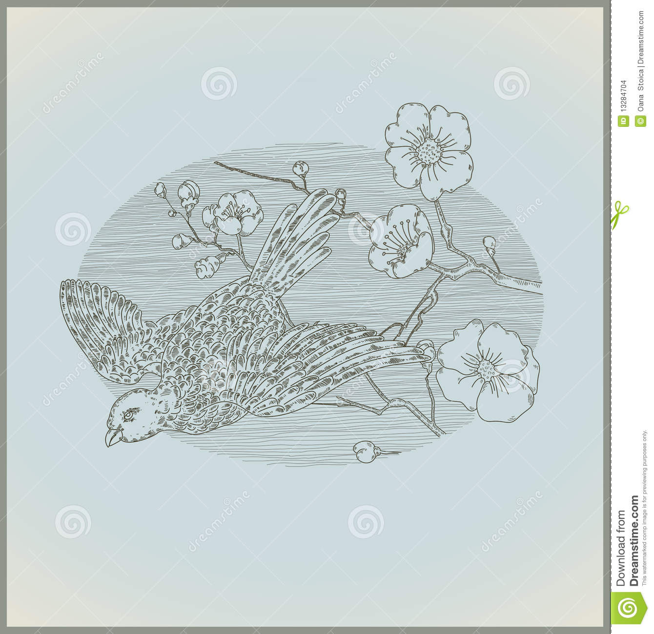 vintage line drawing bird and flowers stock images