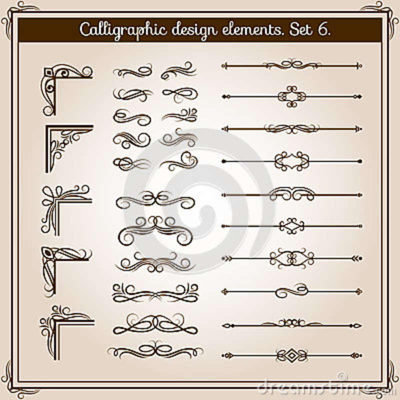 Vintage linear vector ornate decorative elements. Retro flourish line dividers, corners and swirls for page decoration