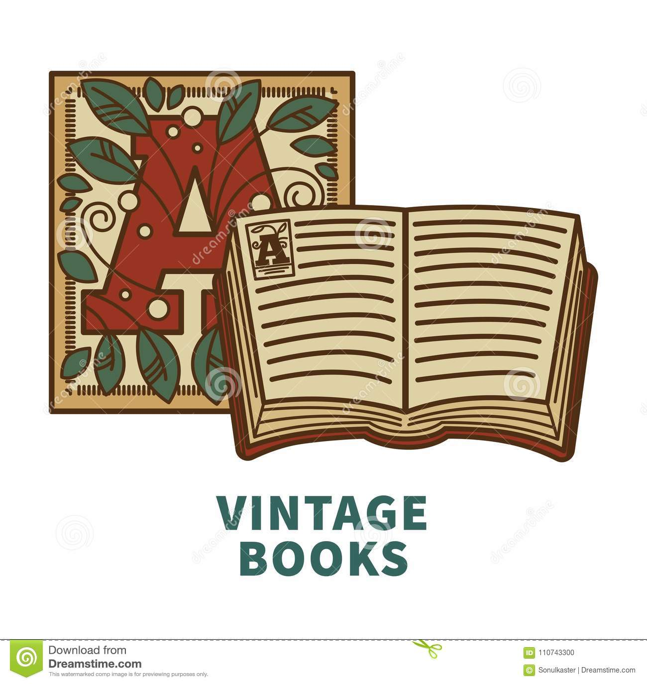 Vintage Book Vector Icon With Cover Letter Design For Poetry ...