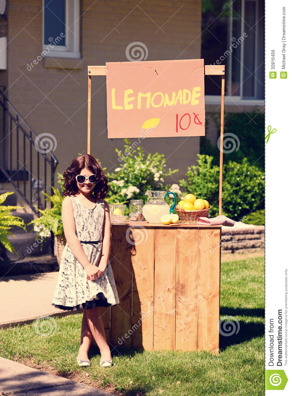 Vintage Little Girl And Her Lemonade Stand Royalty Free Stock Image ...