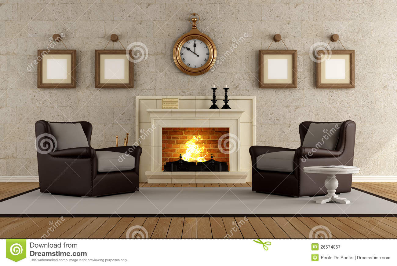 Vintage Living Room Stock Illustration Illustration Of