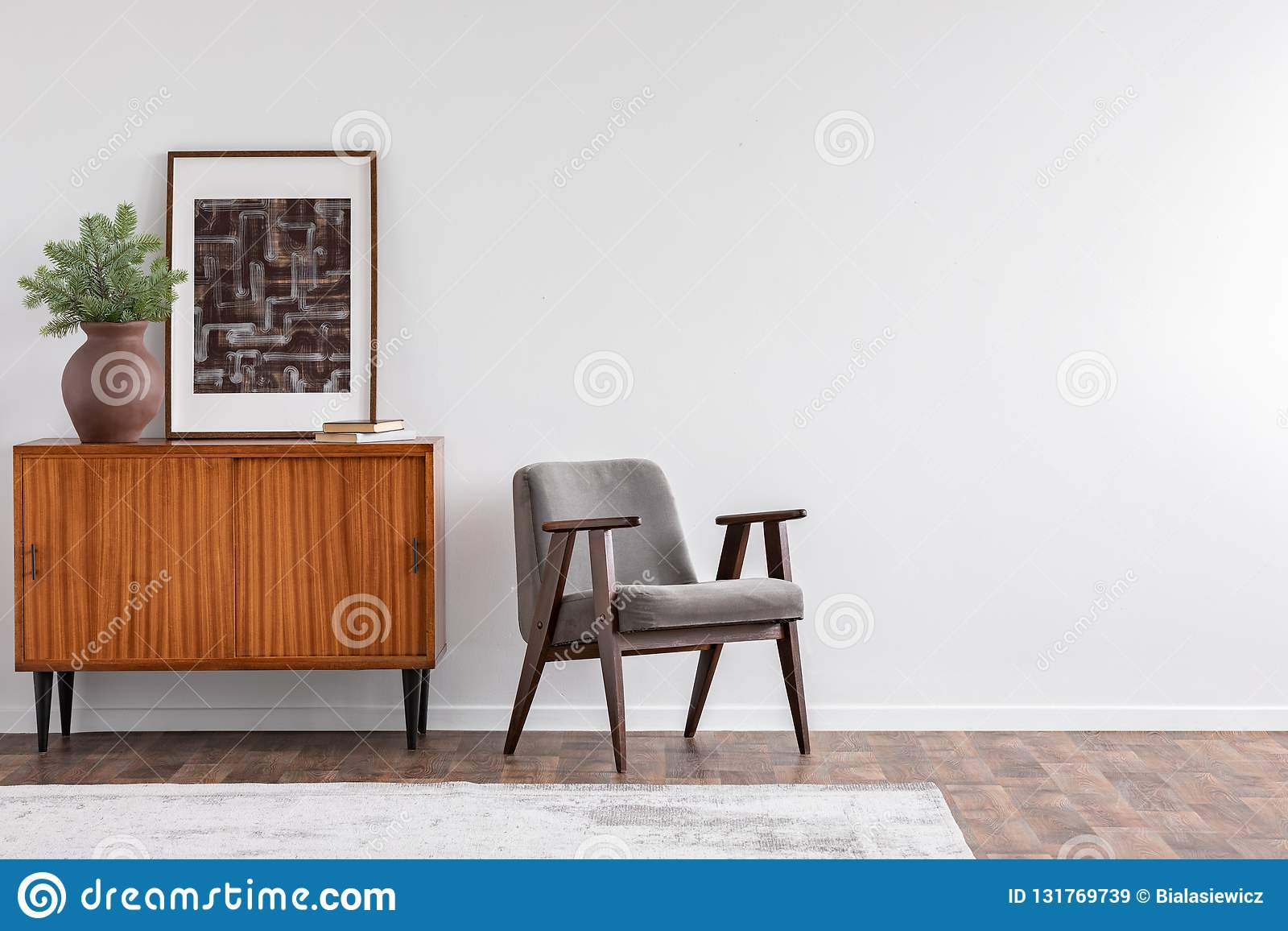 Vintage Living Room Interior With Retro Furniture And Poster ...
