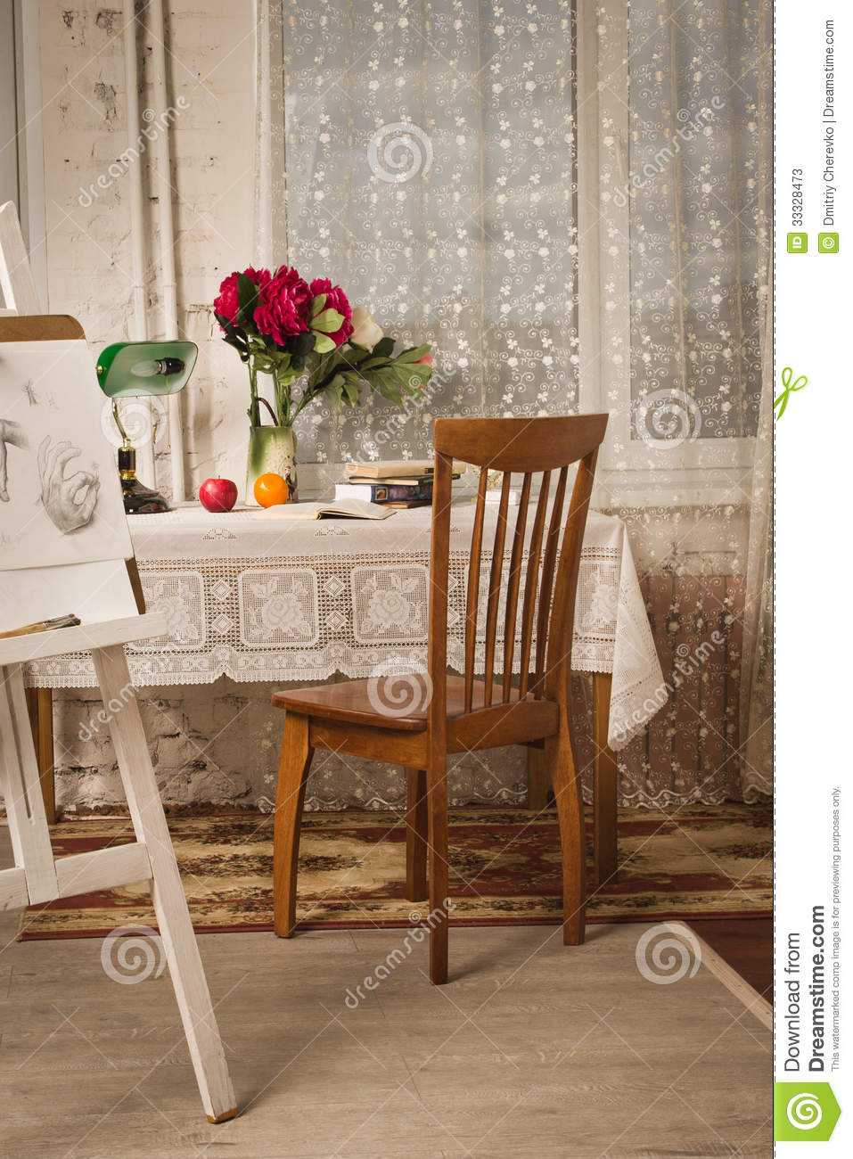 Vintage living room with old fashioned table and chair - Vintage Living Room With Old Fashioned Table And Chair Stock Image