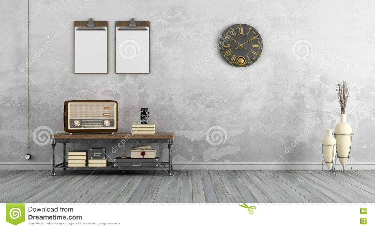 living room radio vintage living room with radio stock illustration 11616