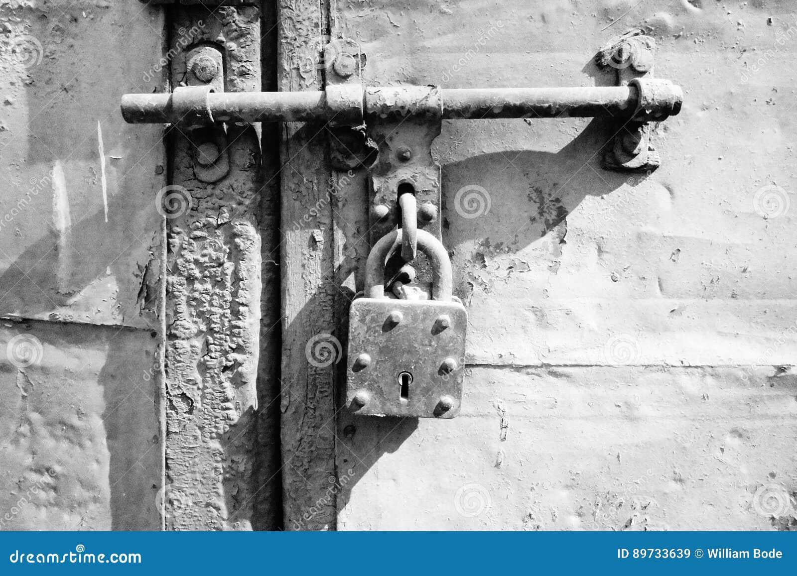 Vintage Lock On Sliding Latch Door Stock Image Image Of Coroded