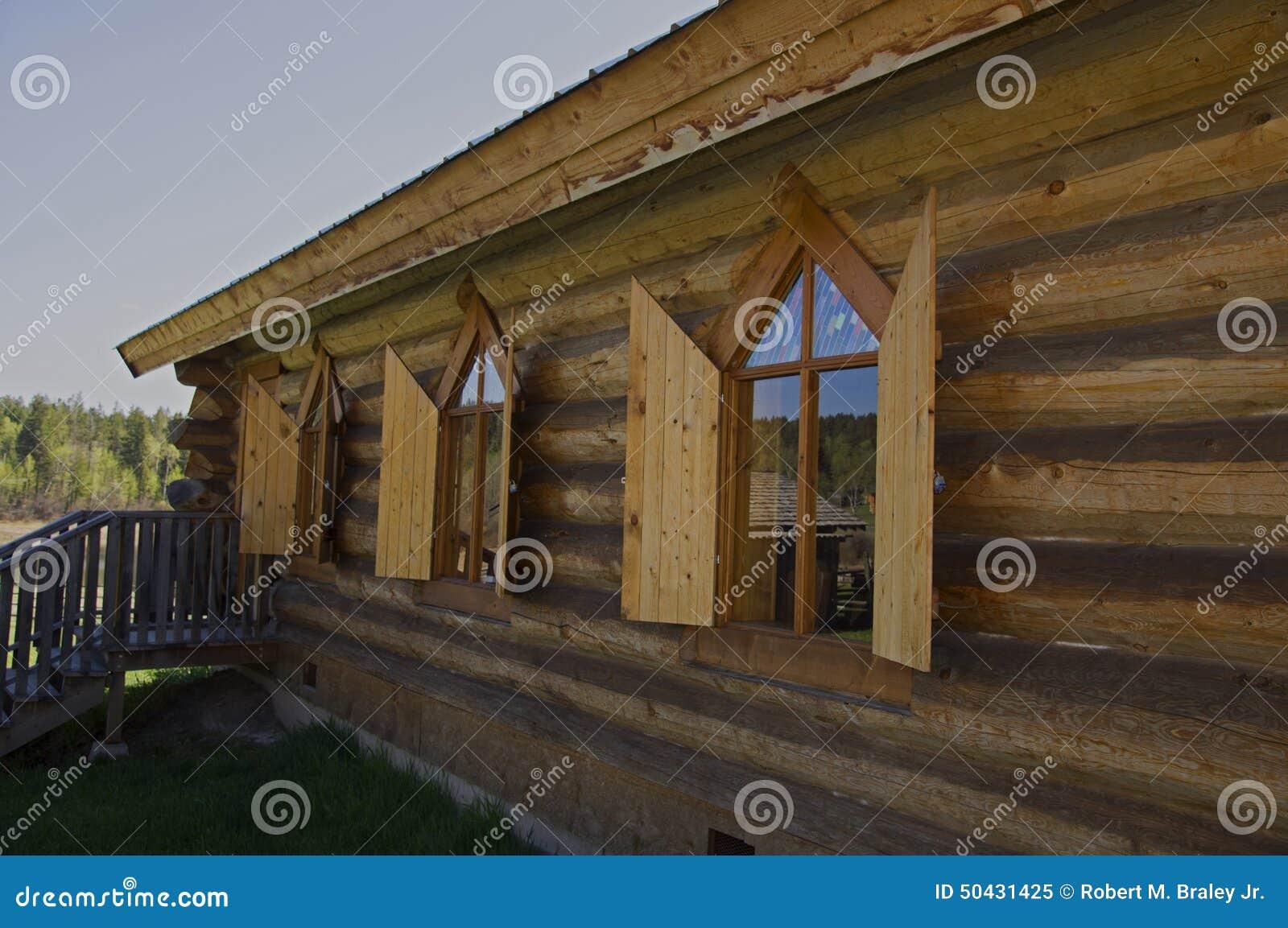 Vintage Log Church shutters