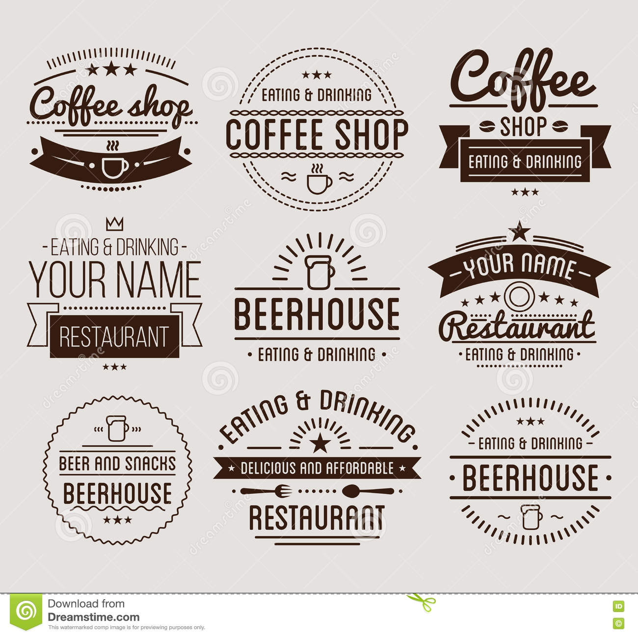 Vintage logo coffee shop template restaurant label for Classic house labels