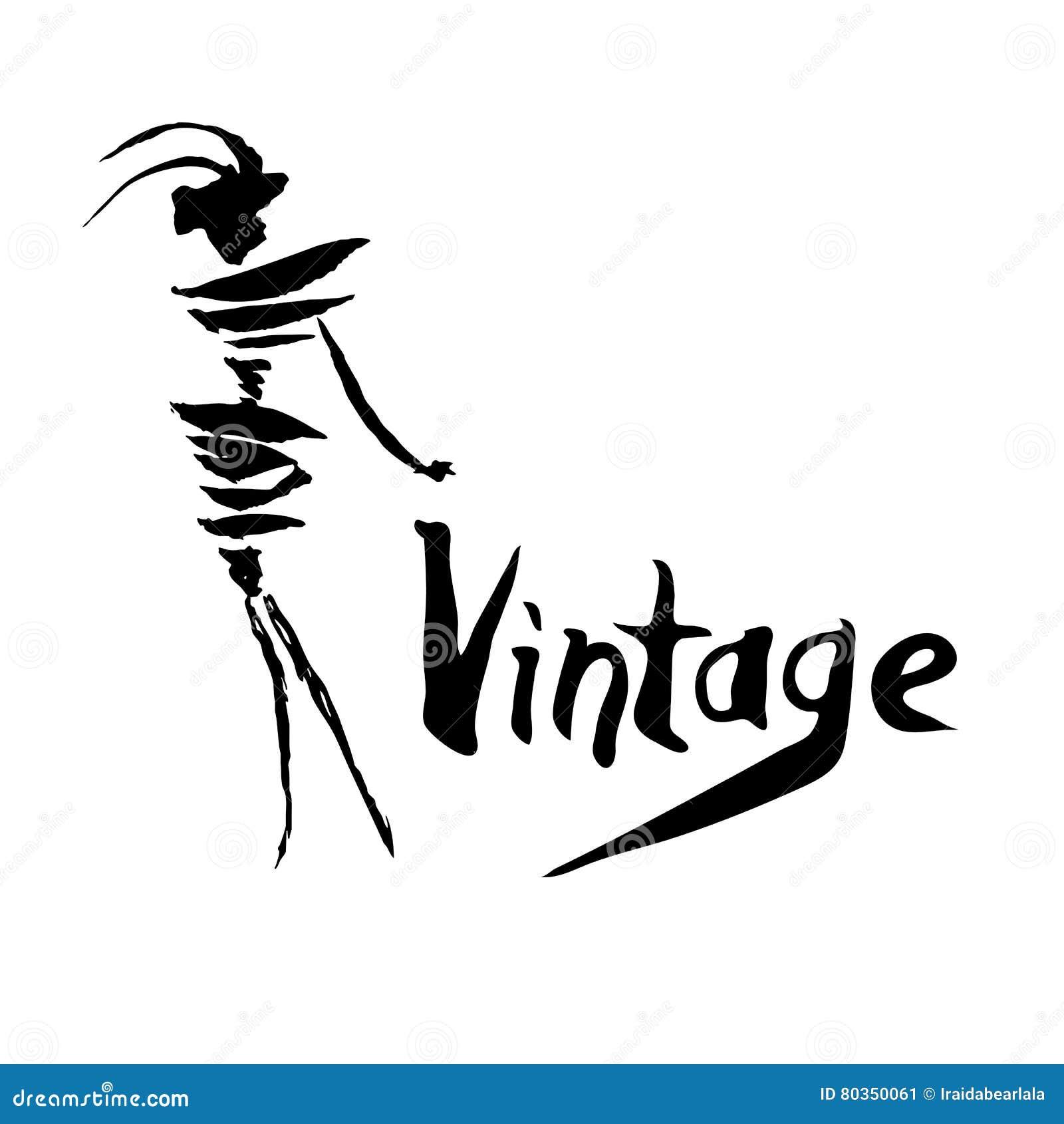 Vintage Logo Design Stock Vector Illustration Of Girl 80350061