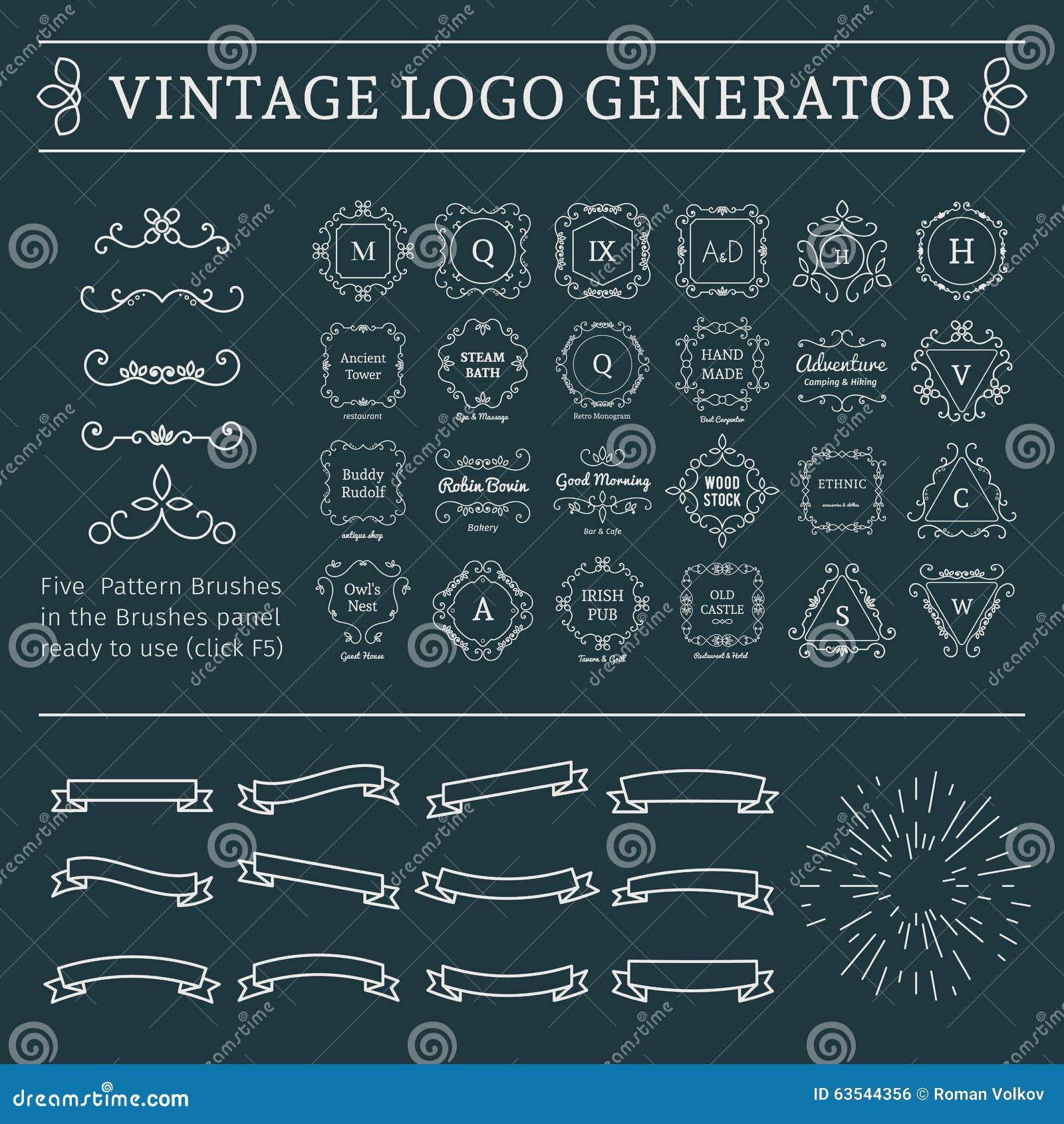 Vintage Logo Generator Stock Vector Image 63544356