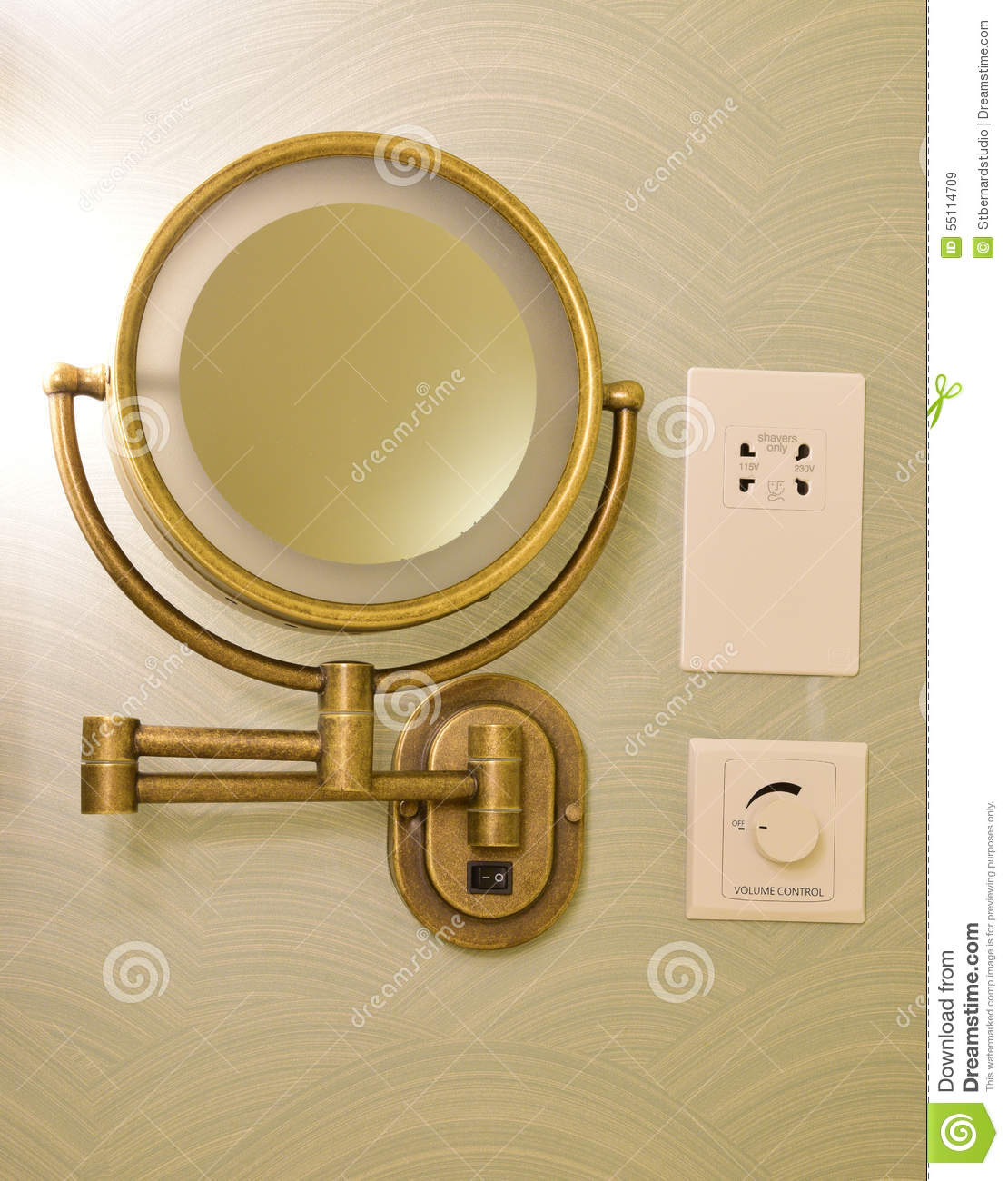 Vintage look brass adjustable wall mount magnifying mirror on half royalty free stock photo download vintage look brass adjustable wall mount magnifying mirror amipublicfo Gallery