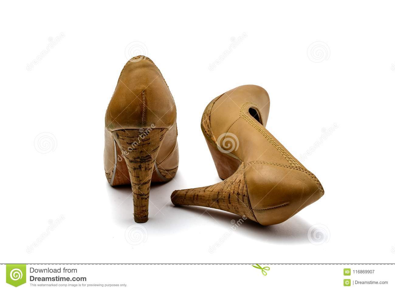 bca9f4a36f378 Brown Vintage Leather High Heel Plateau Pumps Stock Image - Image of ...