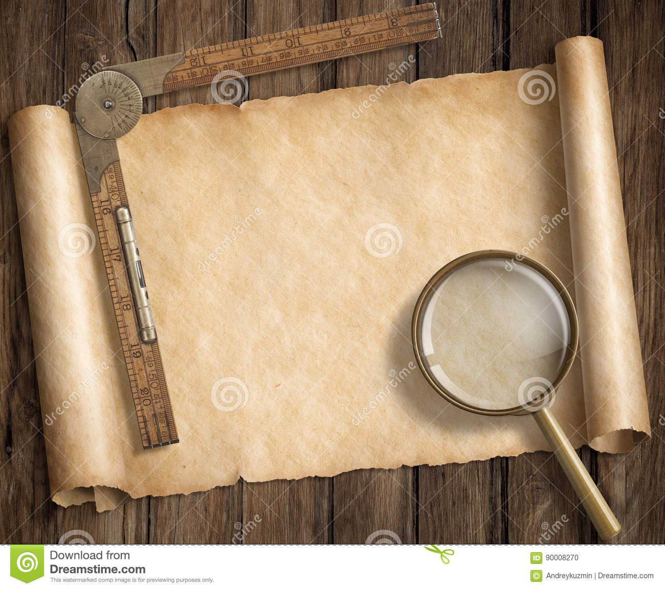 Antique Scroll Map: Old Treasure Map On Scroll Vector Illustration