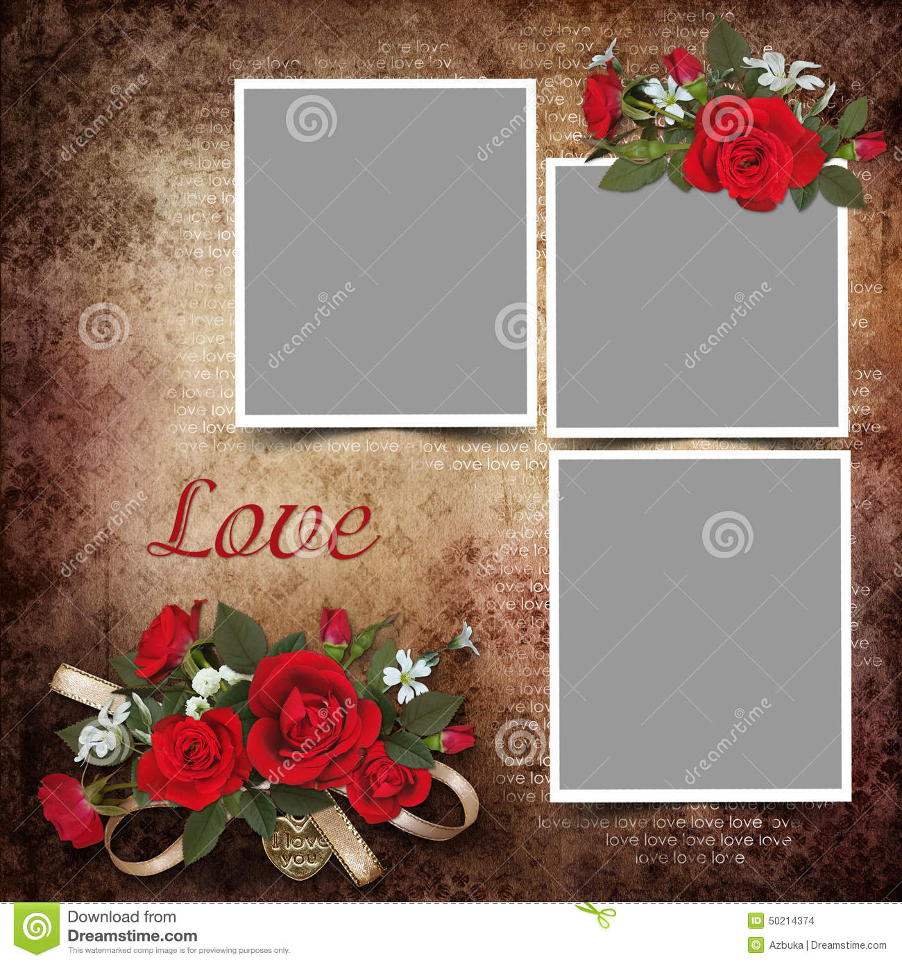 Good Vintage Love Background With Frames And Roses. Pendant, Memory.