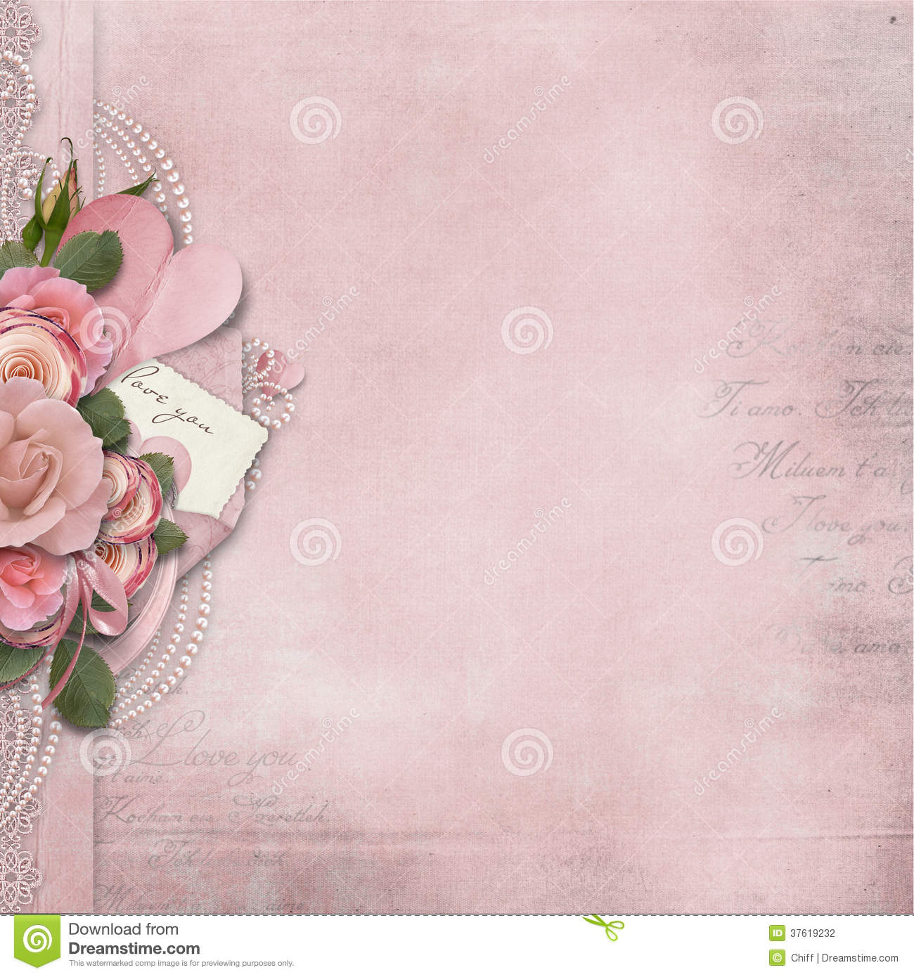 vintage love background with pink roses and heart stock illustration