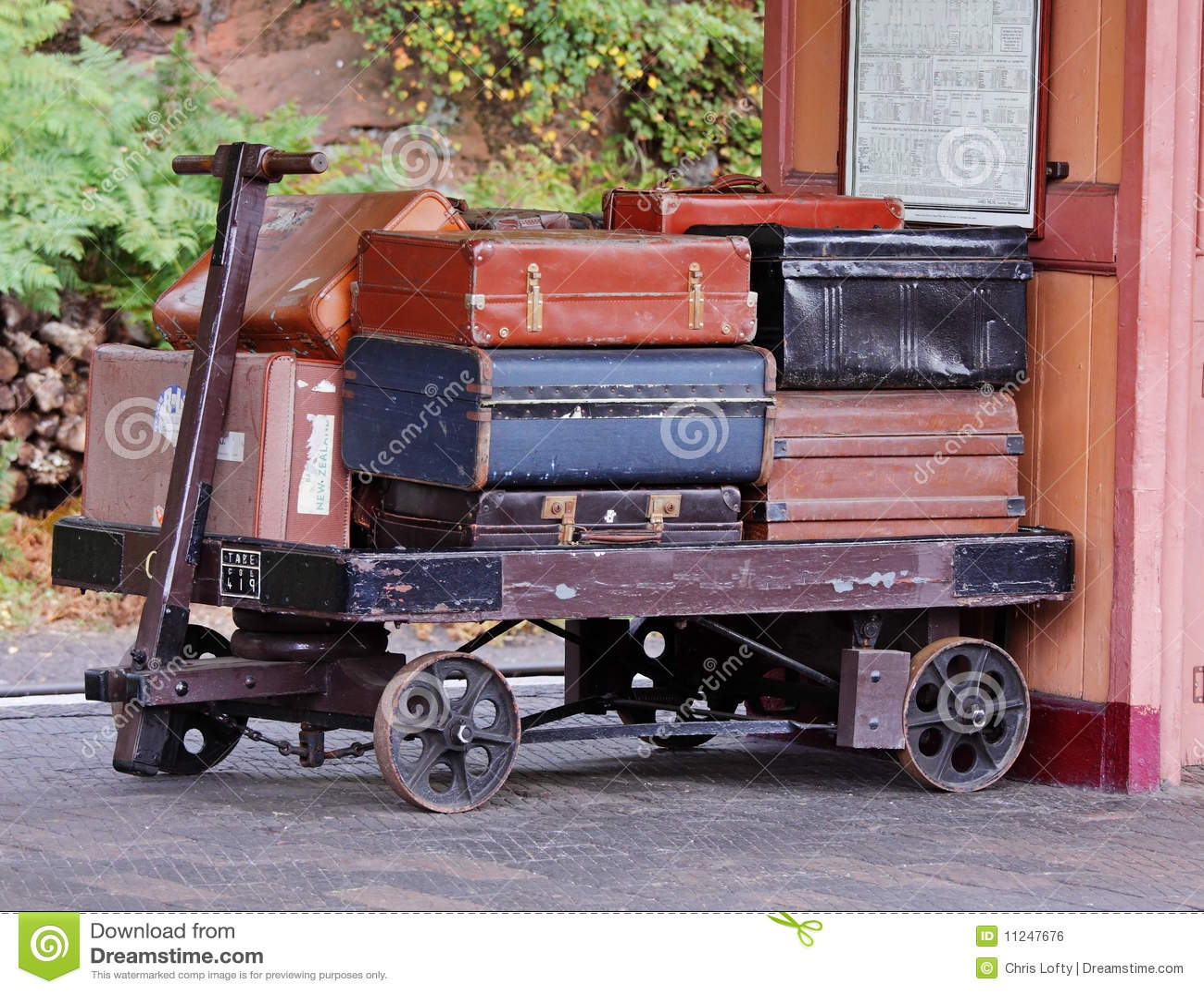 Vintage Luggage On A Railway Station Platform