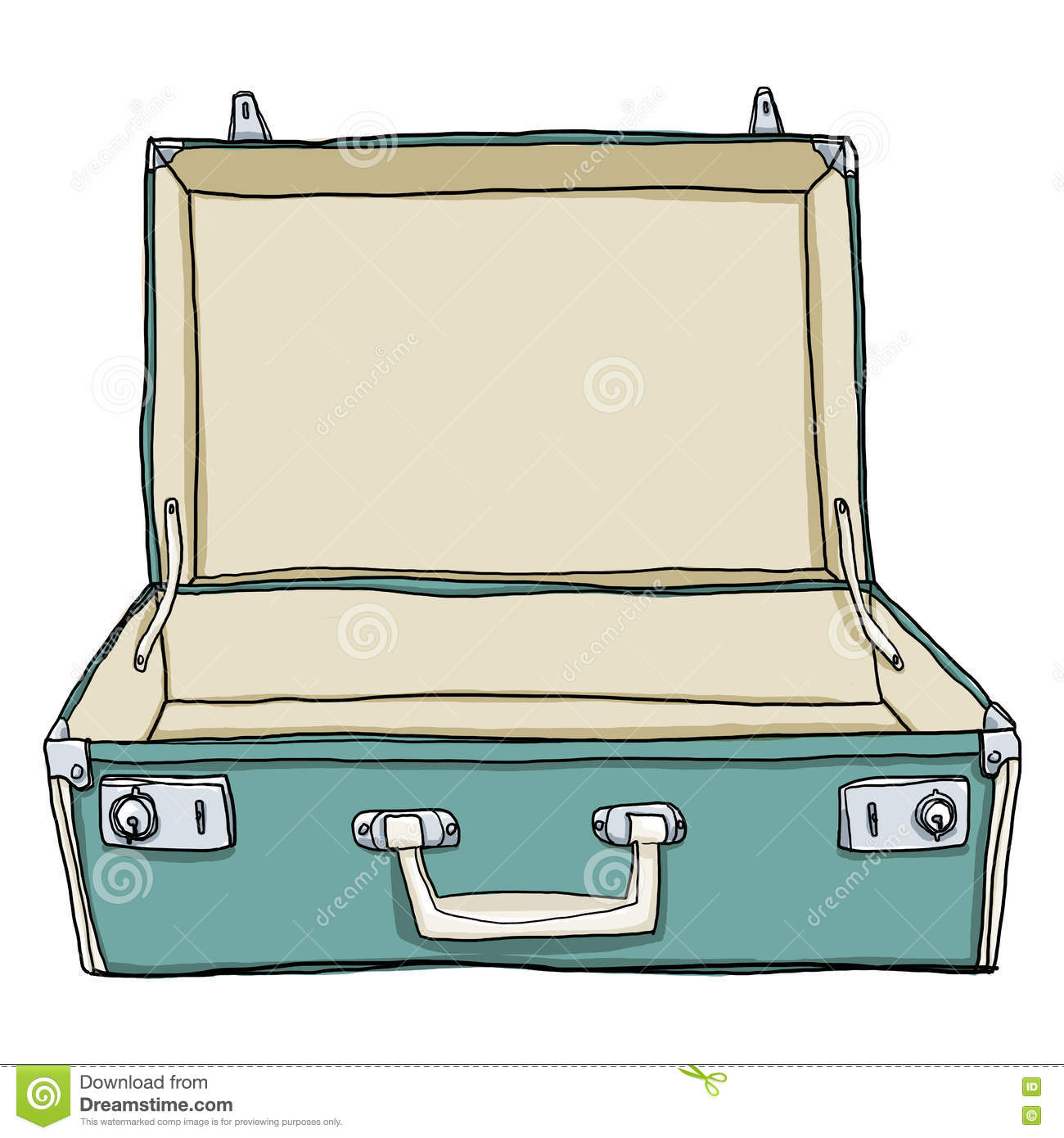 vintage luggage suitcases travel open is empty cute illustrat stock illustration. Black Bedroom Furniture Sets. Home Design Ideas