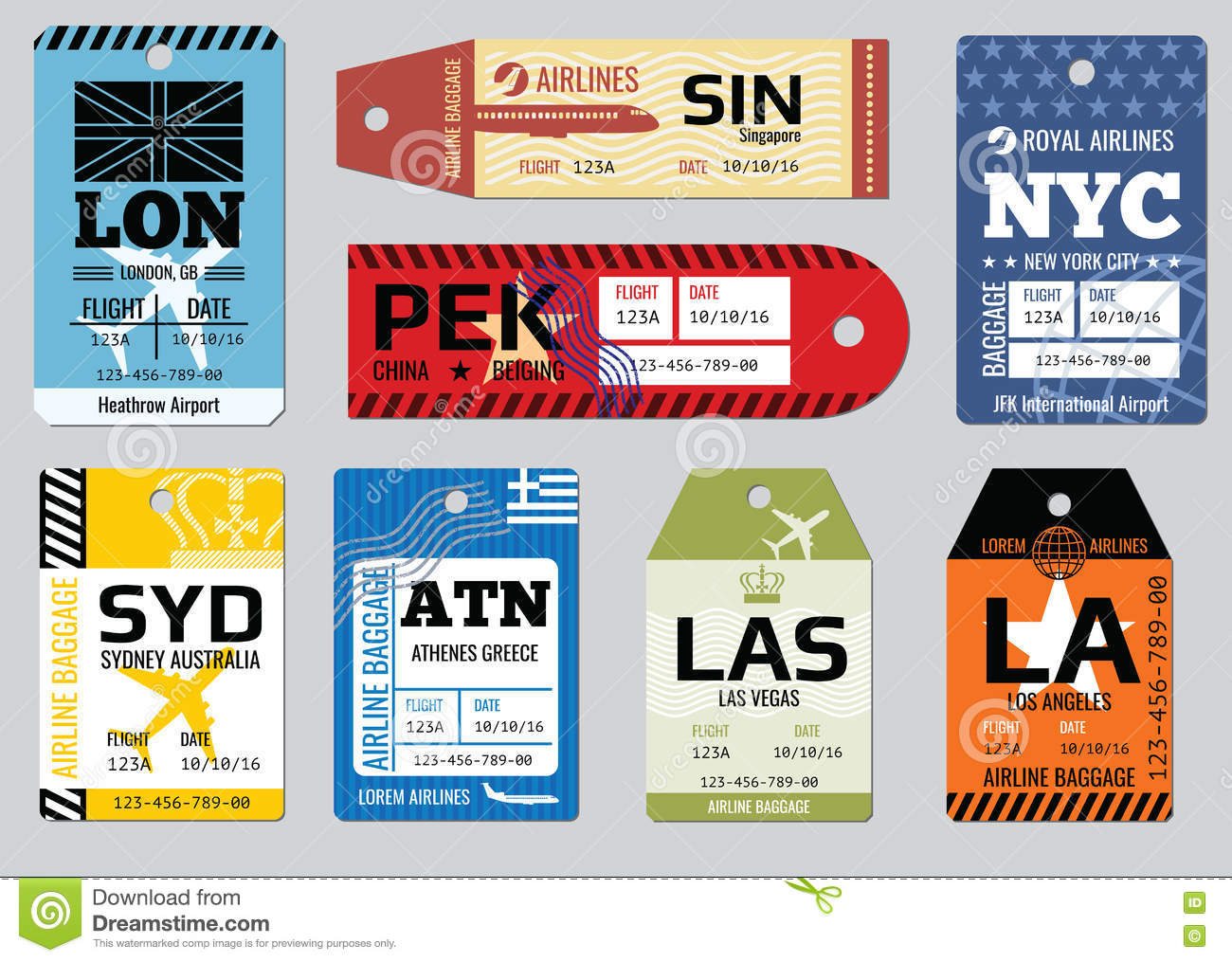 Vintage luggage tags, travel labels vector set
