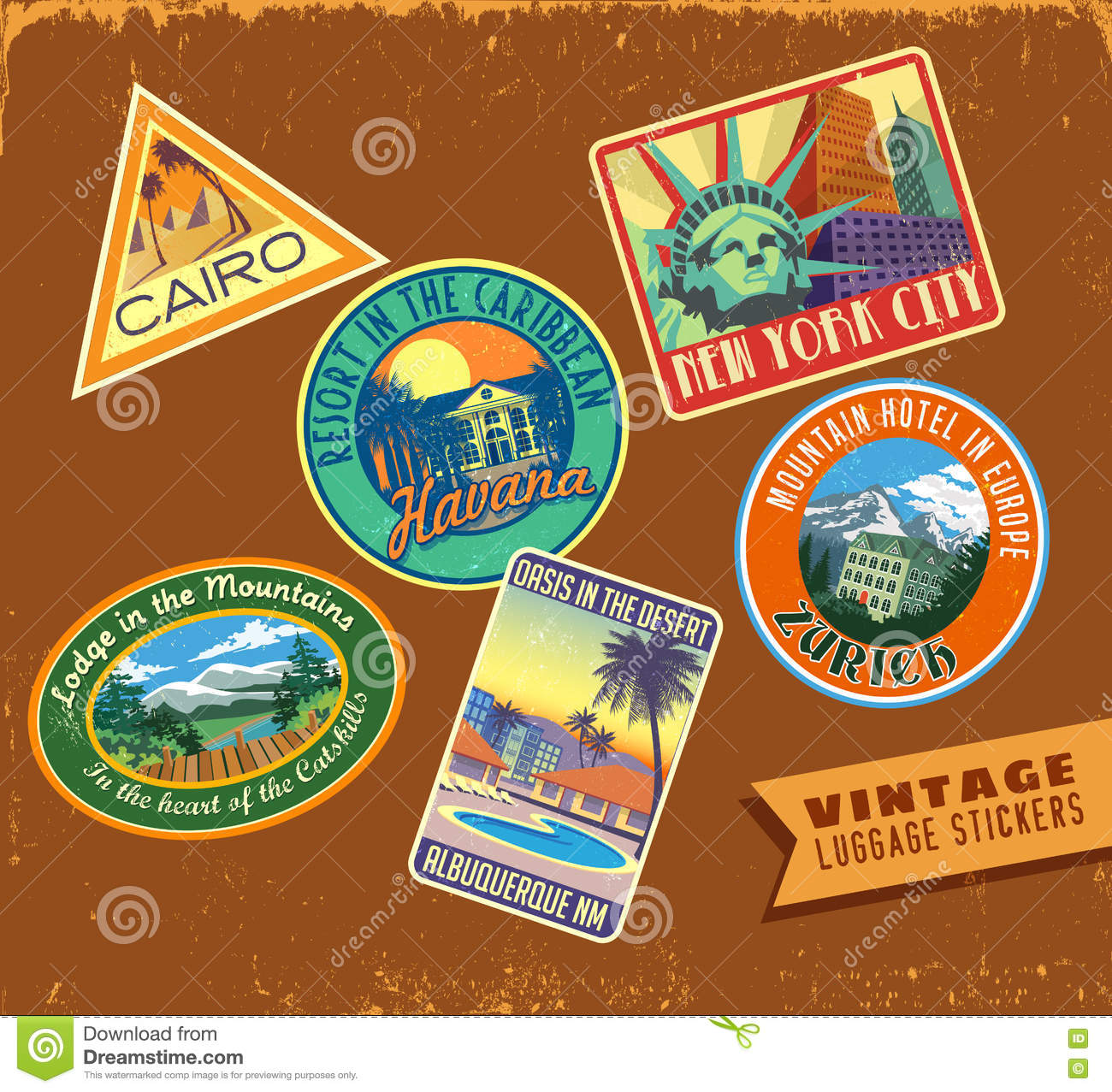 Vintage Luggage Travel Stickers On Leather Texture Vector ...